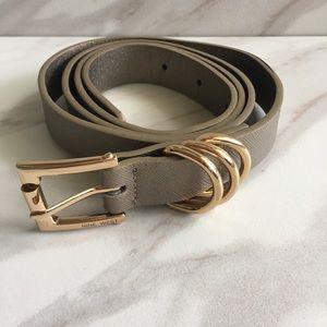 NINE WEST Metallic Belt with Gild Hardware